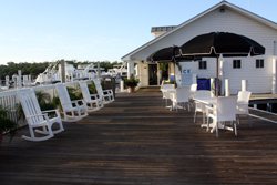 lounge area outside Port Sanibel Marina