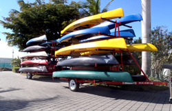 Port Sanibel Marina kayaks and canoes loaded on trailer