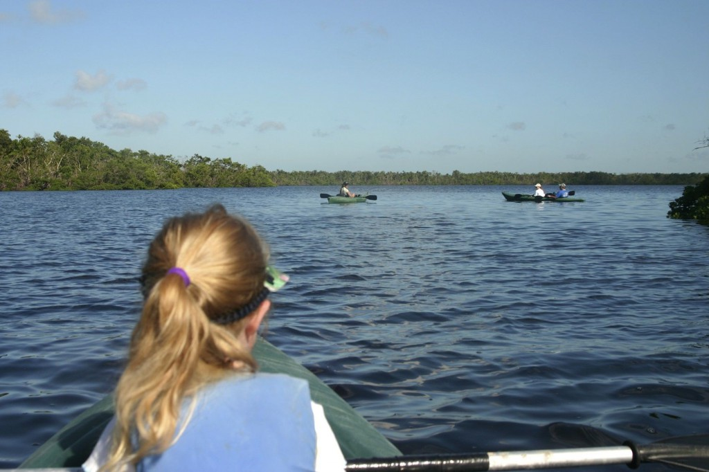 Girl kayaking on Sanibel Island