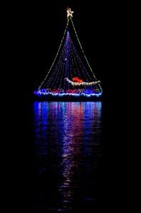Sanibel island Christmas lighted boat